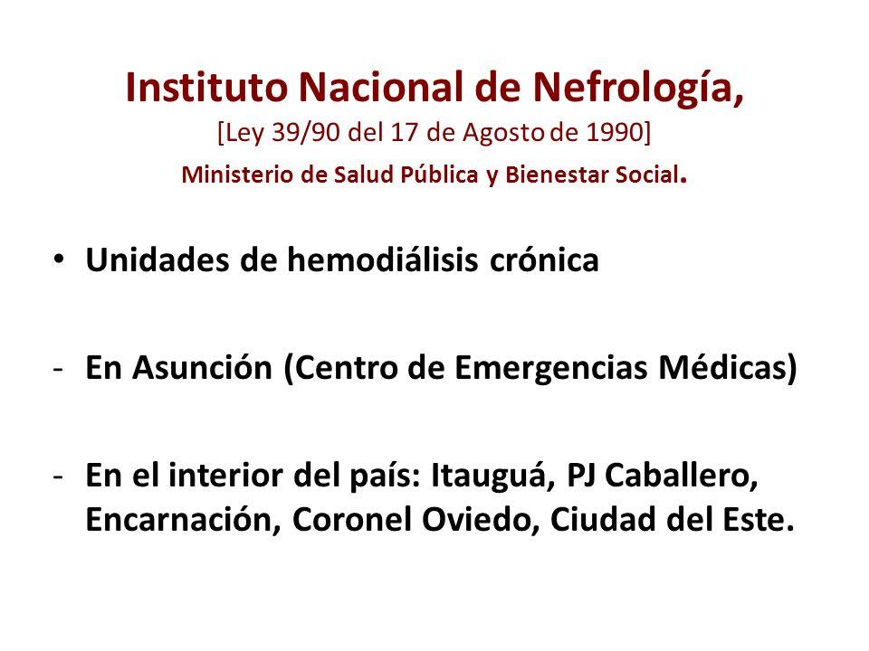 Instituto Nacional de Nefrología, [Ley 39/90 del 17 de Agosto de 1990] Ministerio de Salud Pública y Bienestar Social.